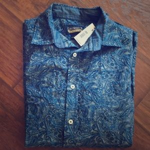 New CREMIEUX Paisley Long Sleeves Shirt S Small